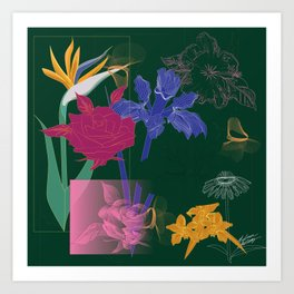 Dark Fall Flower Pattern for Home Goods Emerald Green Magenta Art Print