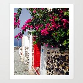 Santorini Door Art Print
