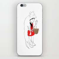 red riding hood iPhone & iPod Skins featuring LITTLE RED RIDING HOOD by auntikatar