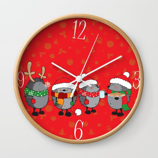 Christmas hedgehogs wall clock by mangulica illustrations