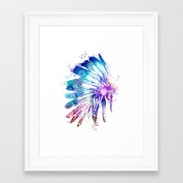 mandala colorful headdress Framed Art Print