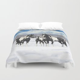 Black Pinto Horse Family Paint Horses In Snow Duvet Cover