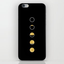 Moon Phase Wall Tapestry, Lunar Cycle, Black and Gold, Black and White, Gold Circles, Geometric iPhone Skin