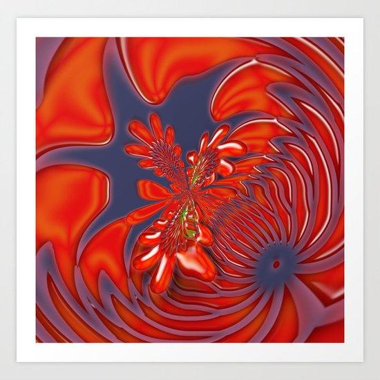 Bloom in red Art Print