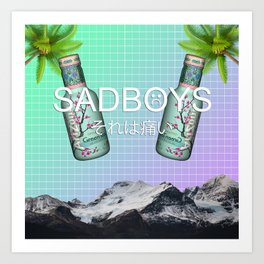 SADBOYS // YUNG LEAN AESTHETIC POSTER FT. GREEN TEA AND PALM TREES Art Print