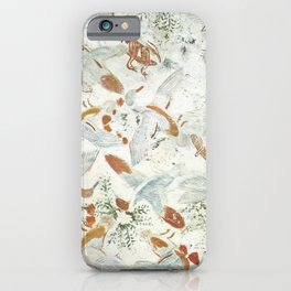 Ceiling painting with birds, butterflies and grasshoppers. iPhone Case