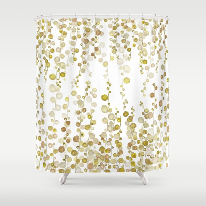 golden string of pearls watercolor Shower Curtain