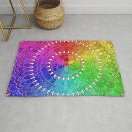 Rainbow Feather Mandala Rug