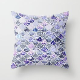 Purple and Ultra Violet Trendy Glitter Mermaid Scales Throw Pillow
