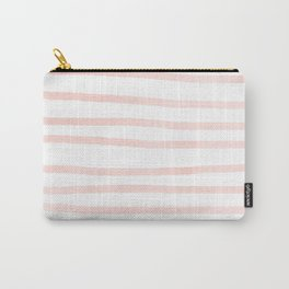Seashell Pink Watercolor Stripes Carry-All Pouch