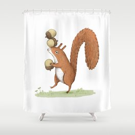 Squirrel With Acorns Shower Curtain