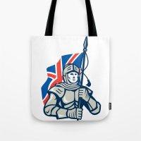 british flag Tote Bags featuring Knight British Flag Retro by patrimonio