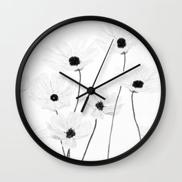 black and white cosmos Wall Clock