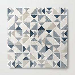 Blue Beige Abstract Striped Triangles Metal Print