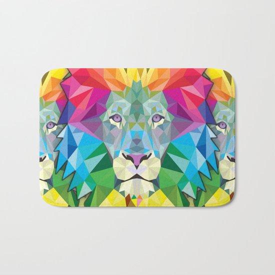 Geometric Rainbow Lion Bath Mat