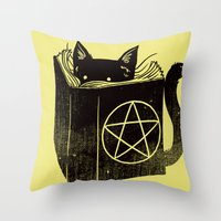 witchcraft Throw Pillows featuring Witchcraft Cat by Tobe Fonseca