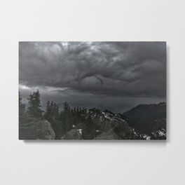 Olympic Mountain Rain Storm Metal Print