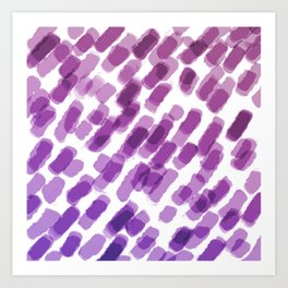 Purple Watercolor Brush Strokes Abdtraction Art Print