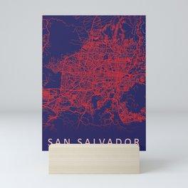 San Salvador, El Salvador, Blue, White, City, Map Mini Art Print