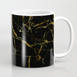 Golden Marble - Black and gold marble pattern, textured design Coffee Mug