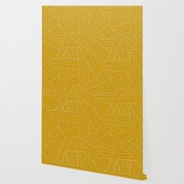 Crossing Lines in Mustard Yellow Wallpaper