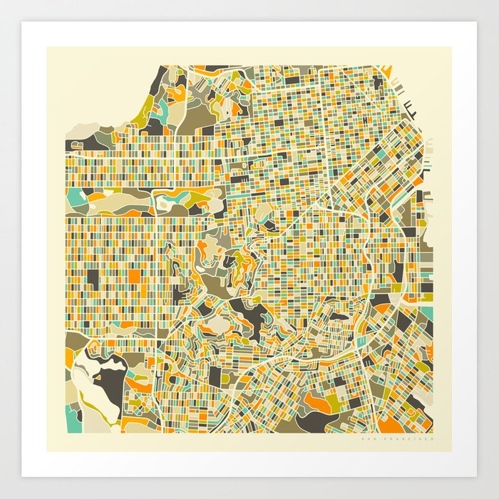 San Francisco Map Kunstdrucke