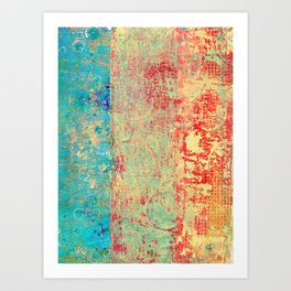 Brilliant Encounter, Abstract Art Turquoise Red Art Print