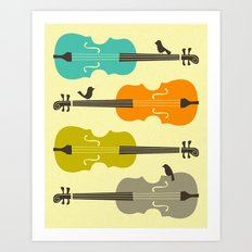 Birds on Cello Strings Art Print