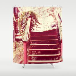 Wooden Stairs Shower Curtain