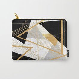 Black and Gold Geometric Carry-All Pouch