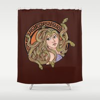 medusa Shower Curtains featuring Medusa by agentofanarchy