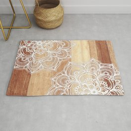 White doodles on blonde wood - neutral / nude colors Rug