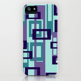 Geometric rectangles pattern violet iPhone Case