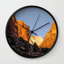 WINTER LIGHT ON ZION Wall Clock