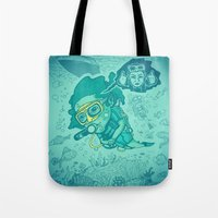 karen hallion Tote Bags featuring Karen the Diver by Timo Ambo