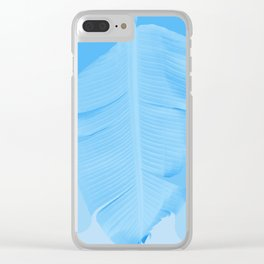 Tropical Banana Leave Pastel Blue Ombre Design Clear iPhone Case