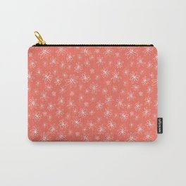 Loopy Flowers - white on coral Carry-All Pouch