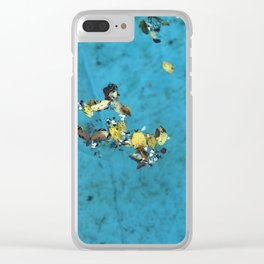 Leaves on blue water Clear iPhone Case