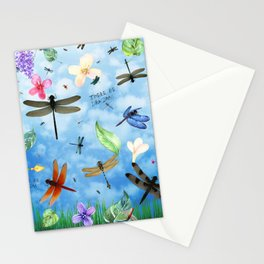 There Be Dragons Whimsical Dragonfly Art Stationery Cards