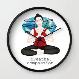 breathe compassion Wall Clock