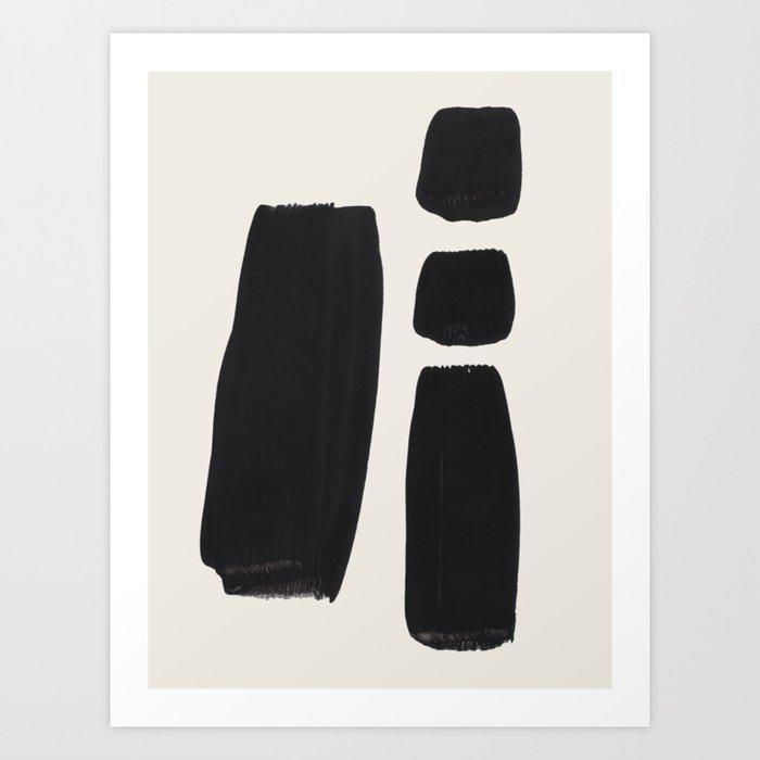 Mid Century Modern Minimalist Abstract Art Brush Strokes Black & White Ink Art Square Shapes Kunstdrucke