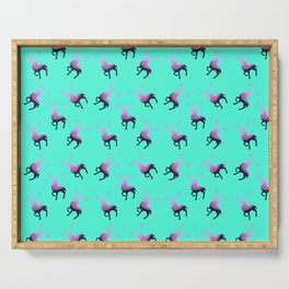 Pink elk silhouettes against turquoise green background pattern design Serving Tray
