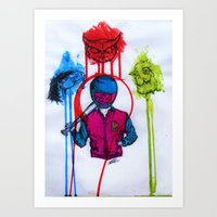 hotline miami Art Prints featuring hotline miami art by Jacks broken art