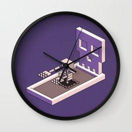 Familiar Face — isometric pixel artwork Wall Clock