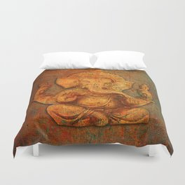 Lord Ganesh On a Distress Stone Background Duvet Cover
