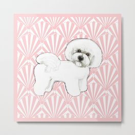 Bichon Frise at the beach / seashell pink Metal Print