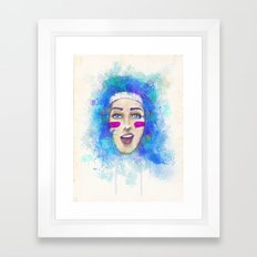 Blue hair Framed Art Print