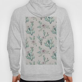 Pretty Cactus Rose Pattern Pale Pink + Green Hoody