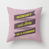 dirty dancing Throw Pillows featuring dirty dancing lilac by 16floor