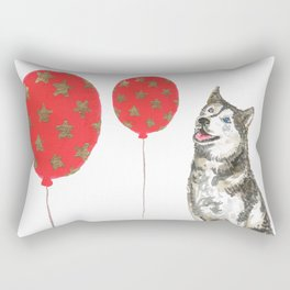Husky With Balloon Rectangular Pillow